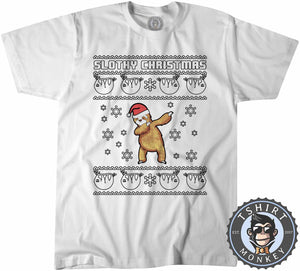 Slothy Chritsmas Ugly Sweater Christmas Tshirt Kids Youth Children 1662