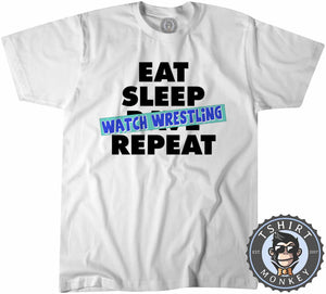 Eat Sleep Watch Wrestling Tshirt Kids Youth Children 0297