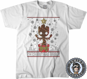Groot Inspired Ugly Sweater Christmas Tshirt Mens Unisex 2857