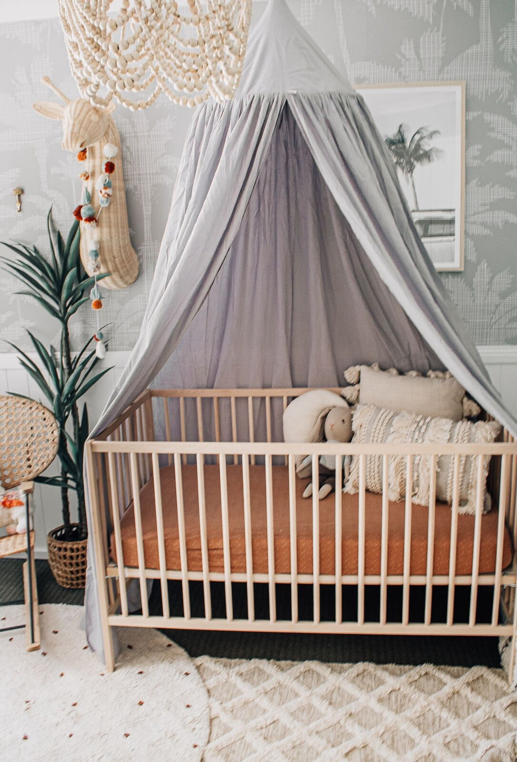 Organic Cotton Canopy - Grey PRE ORDER SEPTEMBER DELIVERY - littledreamer.interiors