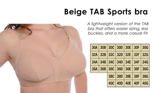 Ottawa Bra Clinic - Beige Tab Sports Bra 30A - 40G, prosthetic friendly