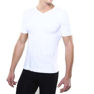 MEN'S V-NECK TEE - Black, and White - Small to 2X