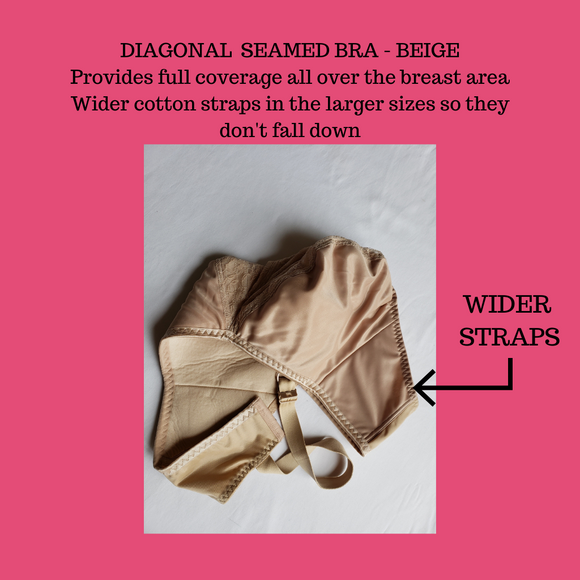 Ottawa Bra Clinic - Tab Bra - Diagonal Seamed Bra, Beige, Full Coverage. Wider cotton straps.