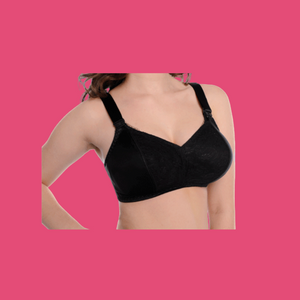 Tab bra vertical seamed. Nursing, post-surgical, mastectomy bra, exercise bra, sports bra. Cotton and microfibre
