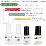 Dip Powder System(Pack of 4), The Perfect Combination Dip & UV/LED Gel Ever Seen, Natural and Glamorous DIY Nails By COHO