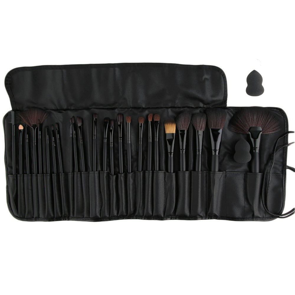 Professional Cosmetics Makeup Set 24Pcs/set Foundation Powder Eyeshadow Brushes Make up brush tool + 1 Gourd shaped puff