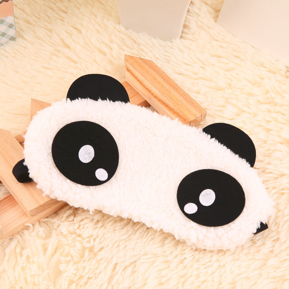 Cute Panda Sleeping Eye Mask Face Mask Blindfold Eyeshade 4 patterns Eyemask White Cotton + rubber band 2017 Hot Sale