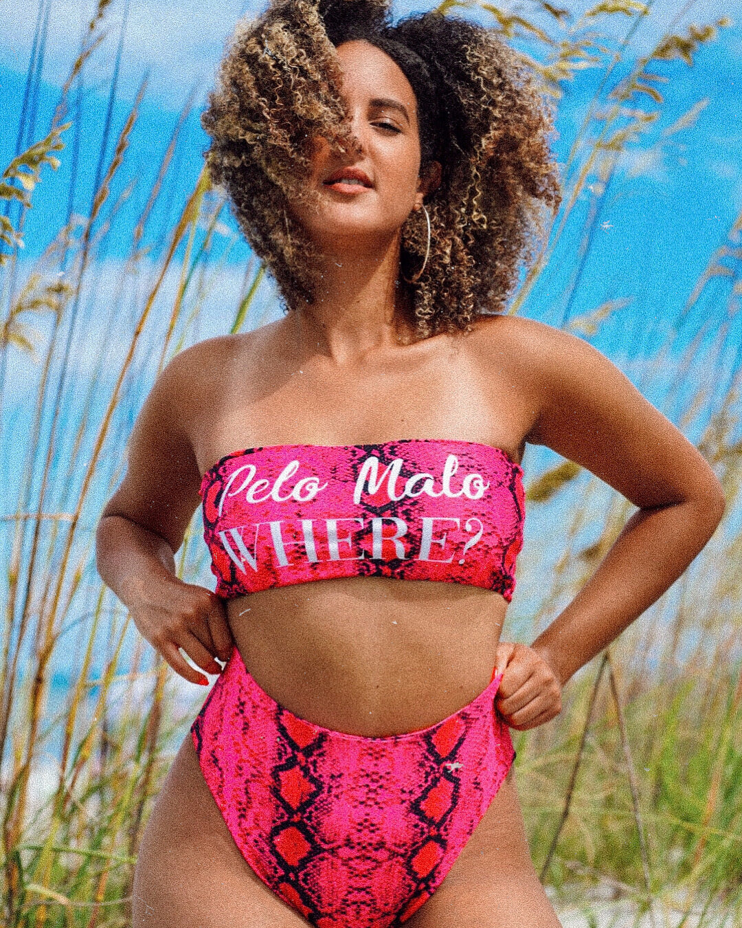 Pelo Malo Where Two-Piece Swimsuit- Pink Snake Print