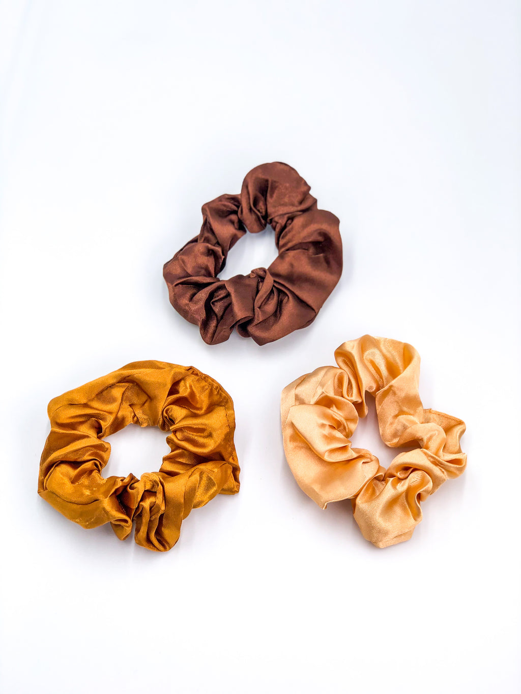 Silk Hair Ties 3-Piece Set Cream-Gold-Brown