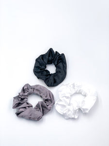 Silk Hair Ties 3-Piece Set Black-Grey-White