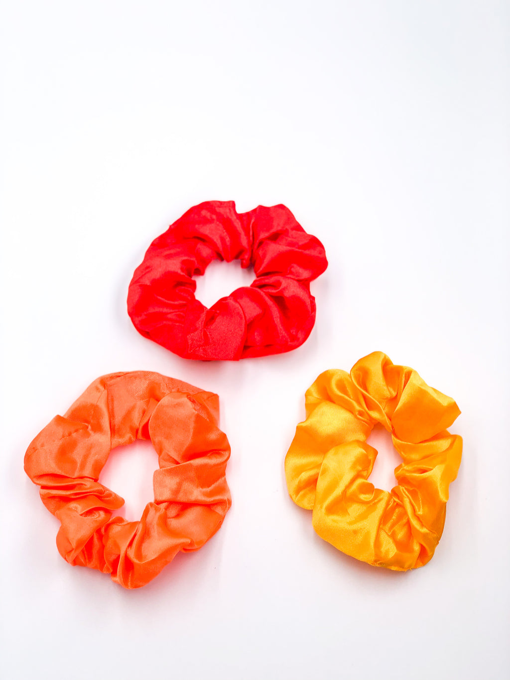 Silk Hair Ties 3-Piece Set Red-Yellow-Orange
