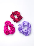 Silk Hair Ties 3-Piece Set Magenta-Burgundy-Lilac