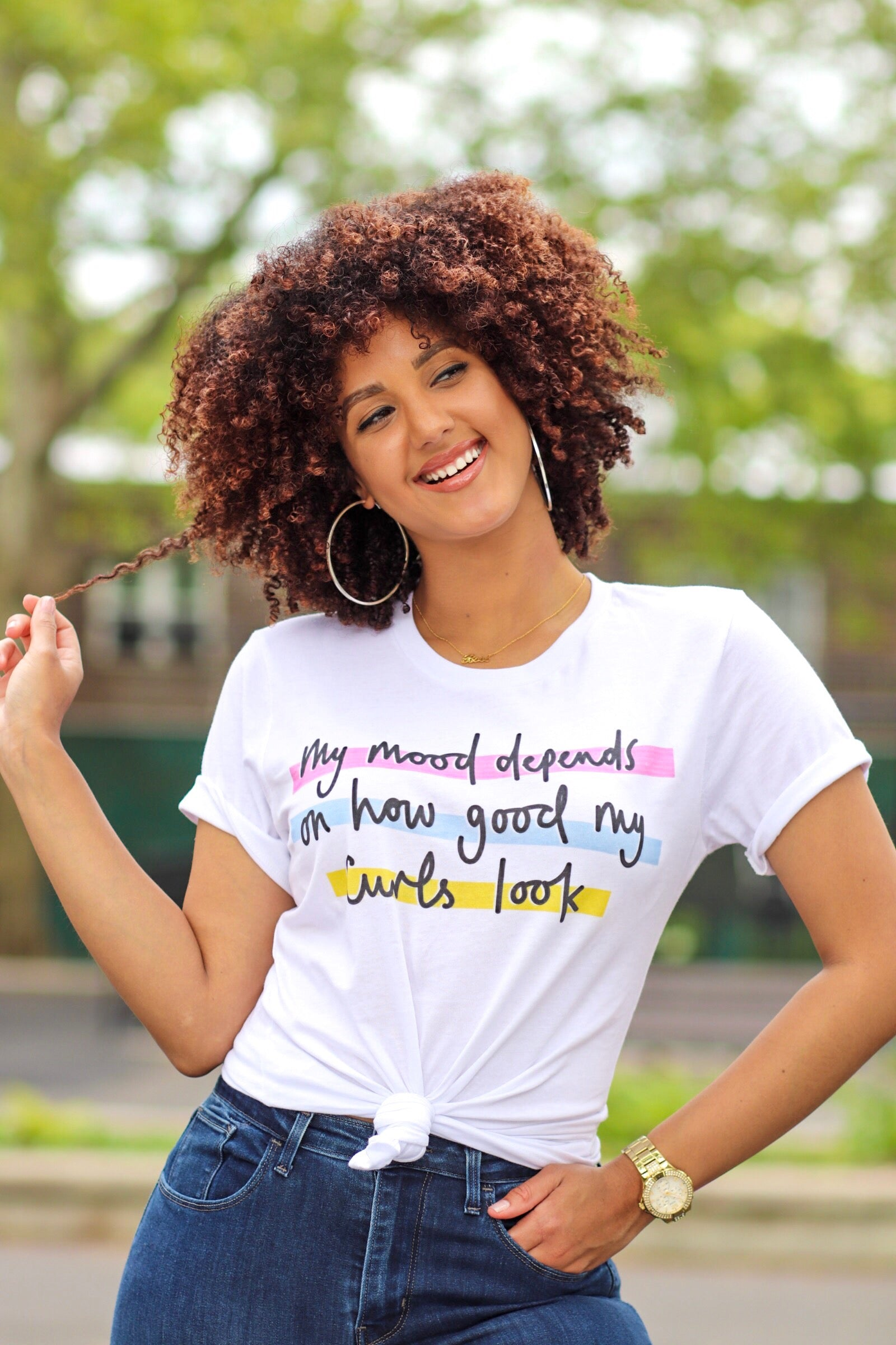 My Mood Depends on How Good My Curls Look T-shirt