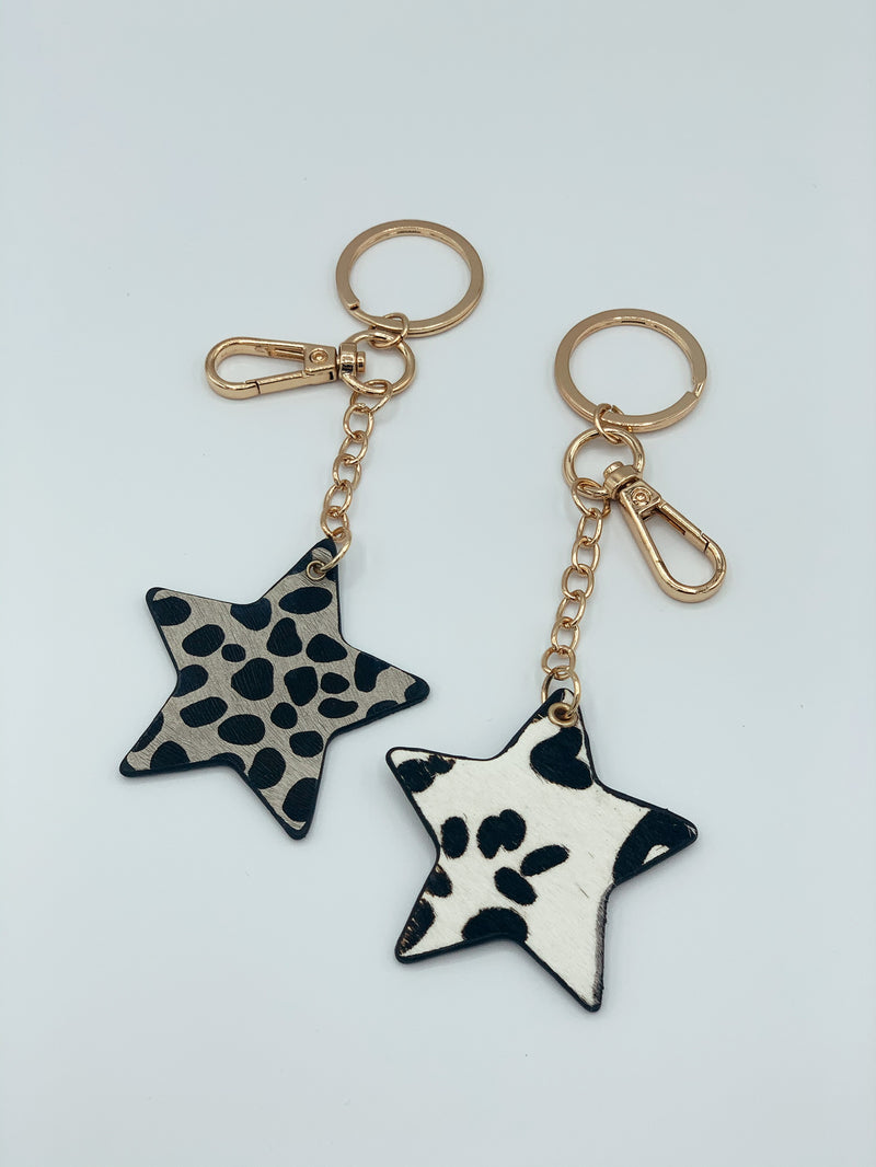 Animal Print Star Keychain