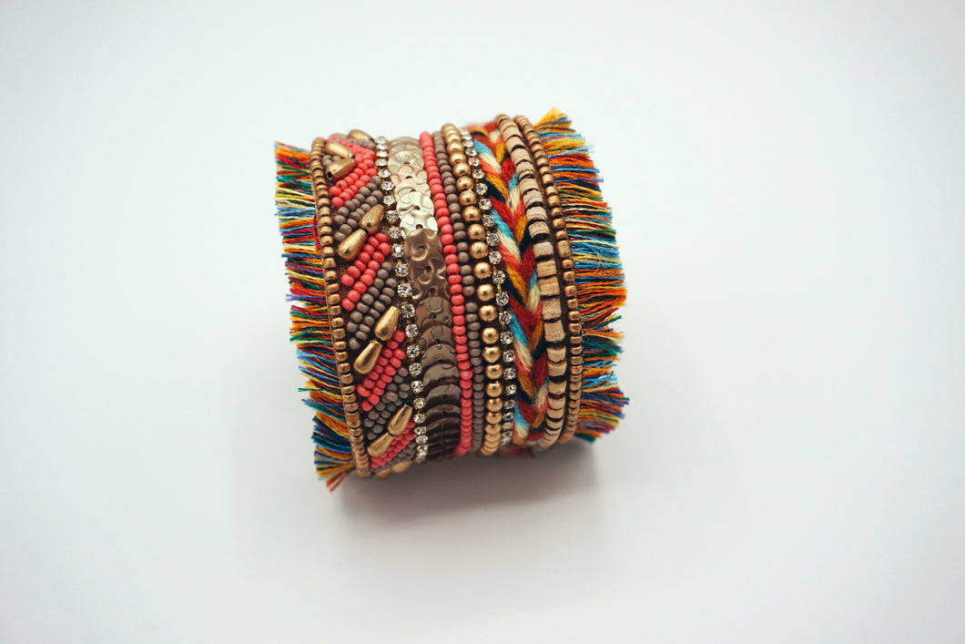 Multi. Color Thick Cuff Bracelet