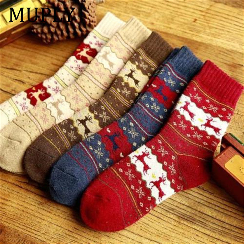 Deer Winter Socks Warm Wool Christmas Deer - Foxeey