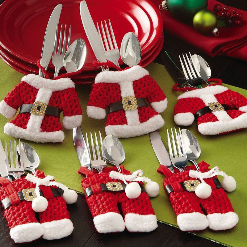 6Pcs New Year Chirstmas Tableware Holder Knife Fork Cutlery Set Skirt Pants - Foxeey