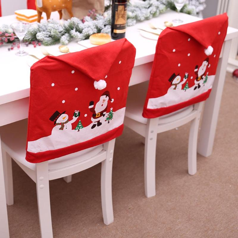 Christmas Chairs Cover Santa Claus Cap - Foxeey