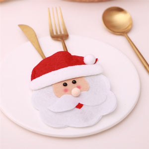 Santa Hat Reindeer Christmas New Year Pocket Fork Knife Cutlery Holder Bag - Foxeey