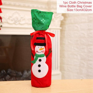 Christmas Decorations for Home Santa Claus Wine Bottle Cover - Foxeey