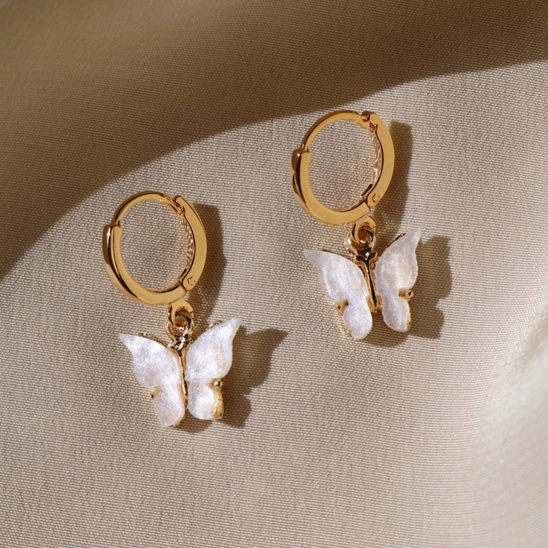 Pearl White Butterfly Earrings