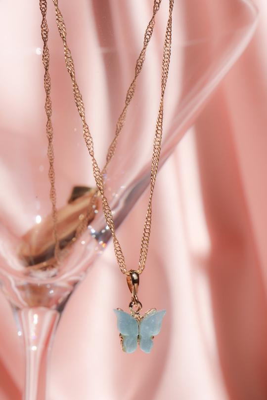 Sky Blue Butterfly Necklace