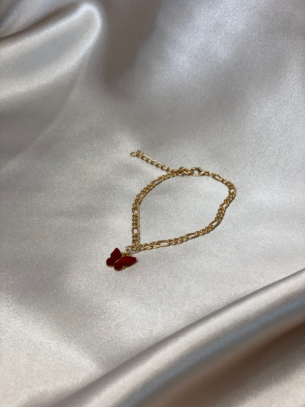 Cherry Red Butterfly Anklet