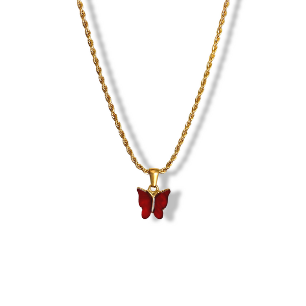 Cherry Red Butterfly Necklace