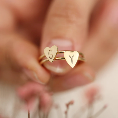 Heart Initial Ring