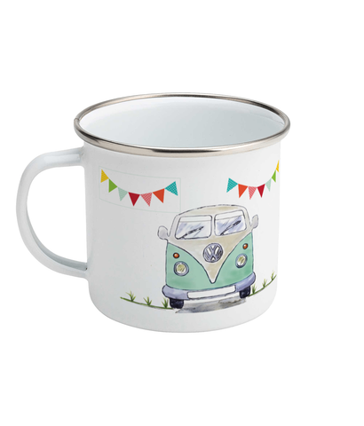 Campervan Enamel Mug. Life Is Like a Road Trip