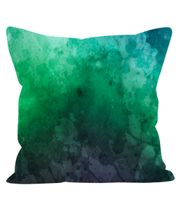 Green & Mauve Ombre Watercolour Cushion