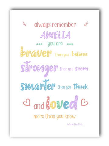 Winnie The Pooh Rainbow Nursery Print - Braver. Stronger, Smarter- Can Be Customised