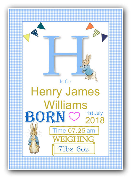 Peter Rabbit Personalised New Baby Print - Gingham