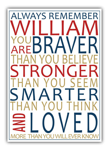 Winnie The Pooh Personalised New Baby Print - Braver. Stronger, Smarter
