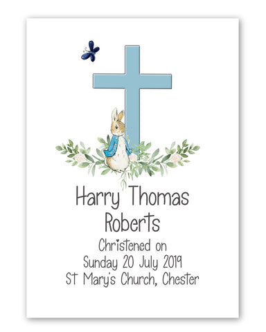 Personalised Christening Gift, Peter Rabbit with Cross