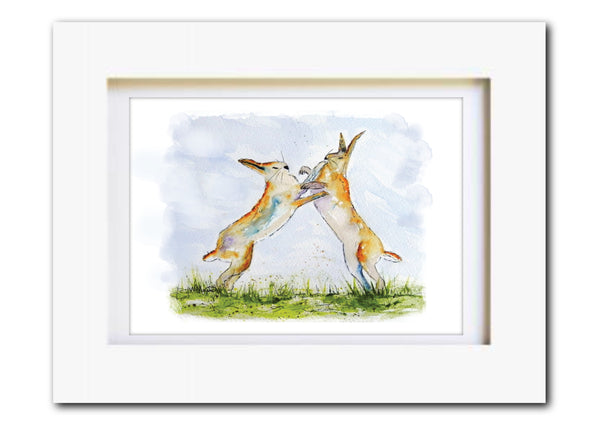 Boxing Hares Original Watercolour Art Print - A5 or A4 - Unframed