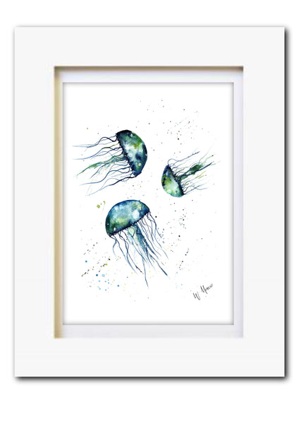 Jellyfish Watercolour Original Art Print - A5 or A4 - Unframed