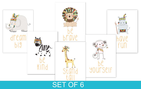 African Animals Set of 6, Nursery Prints