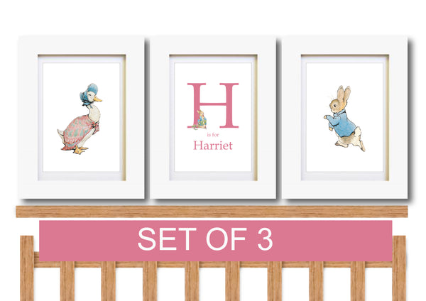 Peter Rabbit Set of 3 Nursery Prints, Personalised