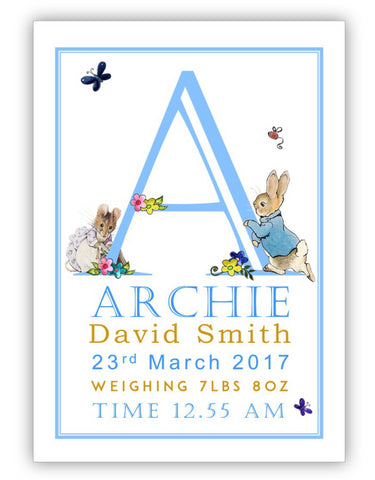 Peter Rabbit Personalised New Baby Print - Simple Border