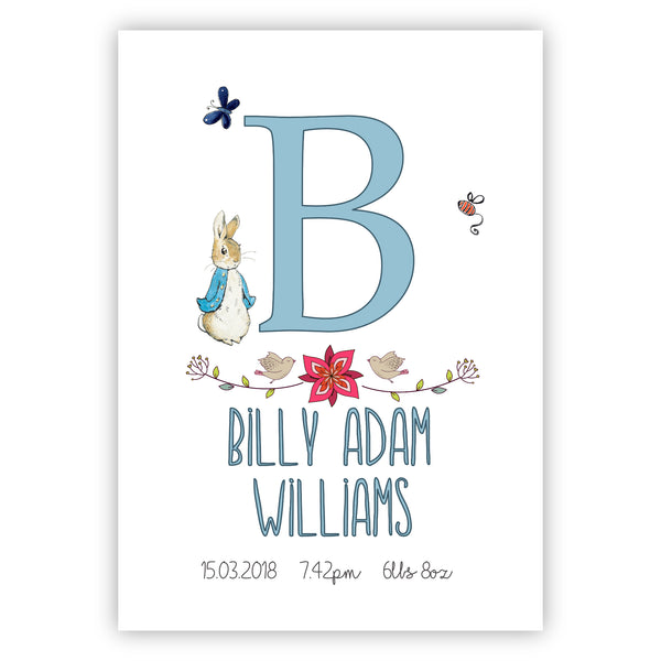 Peter Rabbit Personalised New Baby Print - Simple Flowers