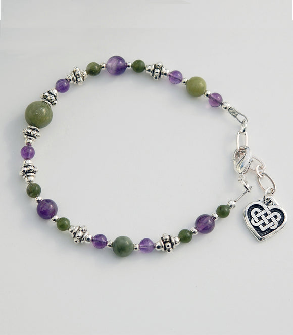 Amethyst and Connemara Marble Bracelet with Celtic Heart Knot.