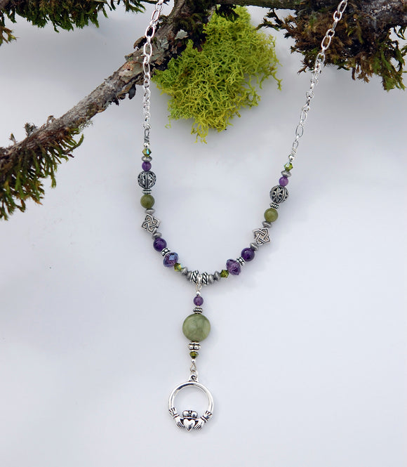 Connemara Marble and Amethyst Gemstone Necklace