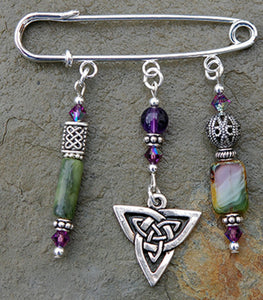 Amethyst and Moss Jade Celtic Knot Pin
