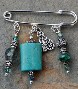 Turquoise and Celtic Cat Pin