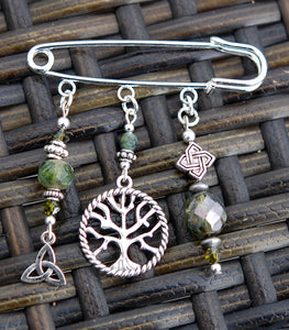 Tree of Life with Moss Jade Pin