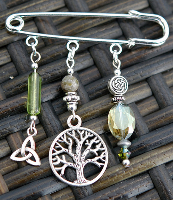 Tree of Life with Connemara Marble Pin