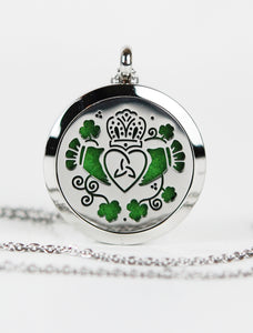 Irish Claddagh & Shamrocks Aromatherapy Pendant