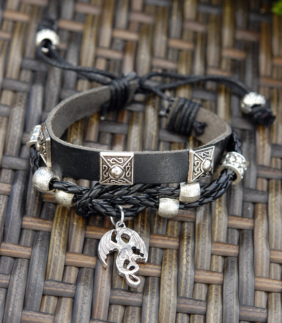 Black Leather Bracelet with Winged Celtic Dragon.
