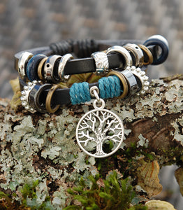 Black Leather Bracelet with Blue and Celtic Tree of Life